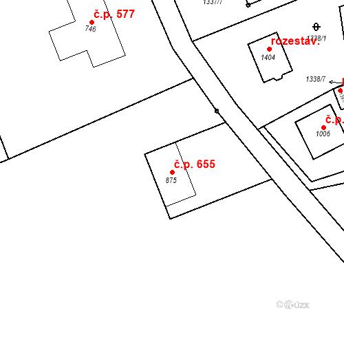 Katastrální mapa Stavební objekt Tlumačov 655, Tlumačov