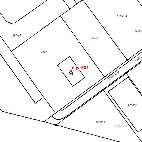 Katastrální mapa Stavební objekt Tlumačov 601, Tlumačov