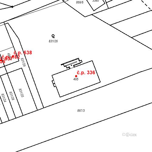 Katastrální mapa Stavební objekt Tlumačov 336, Tlumačov