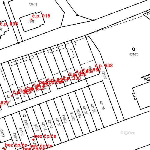 Katastrální mapa Stavební objekt Tlumačov 637, Tlumačov