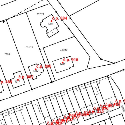 Katastrální mapa Stavební objekt Tlumačov 915, Tlumačov