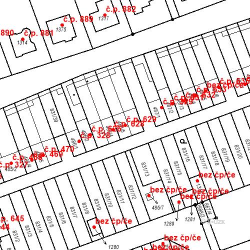 Katastrální mapa Stavební objekt Tlumačov 629, Tlumačov