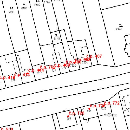 Katastrální mapa Stavební objekt Tlumačov 460, Tlumačov