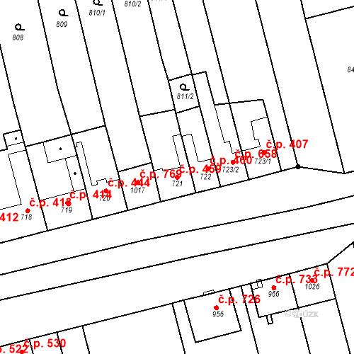 Katastrální mapa Stavební objekt Tlumačov 459, Tlumačov