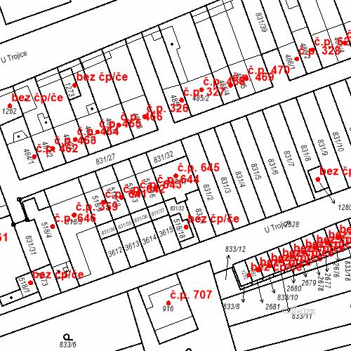 Katastrální mapa Stavební objekt Tlumačov 645, Tlumačov