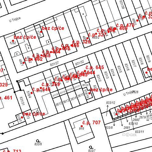 Katastrální mapa Stavební objekt Tlumačov 644, Tlumačov