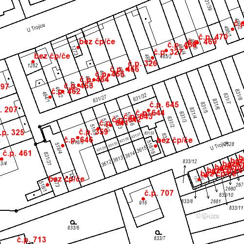 Katastrální mapa Stavební objekt Tlumačov 643, Tlumačov