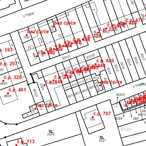 Katastrální mapa Stavební objekt Tlumačov 642, Tlumačov