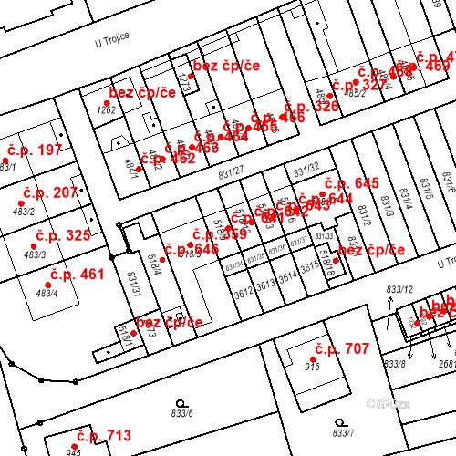 Katastrální mapa Stavební objekt Tlumačov 641, Tlumačov