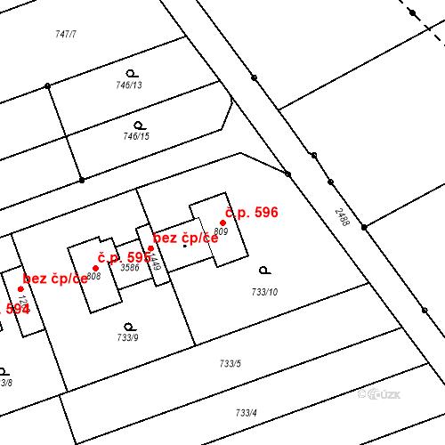 Katastrální mapa Stavební objekt Tlumačov 596, Tlumačov