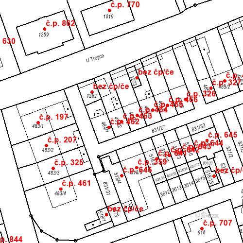 Katastrální mapa Stavební objekt Tlumačov 463, Tlumačov