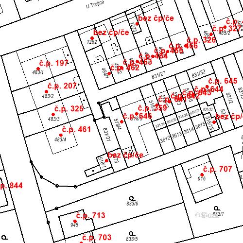 Katastrální mapa Stavební objekt Tlumačov 646, Tlumačov