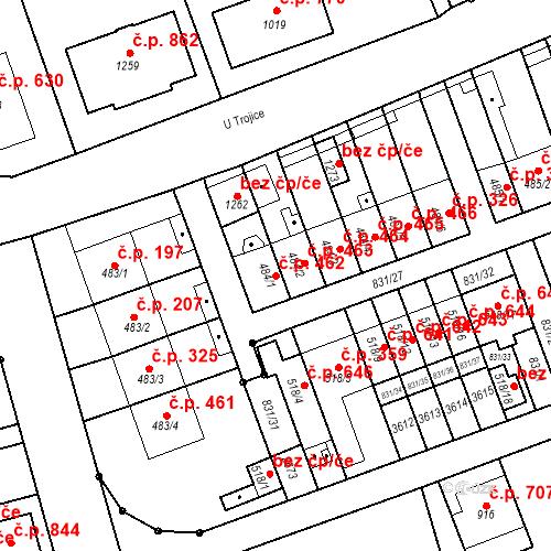 Katastrální mapa Stavební objekt Tlumačov 462, Tlumačov