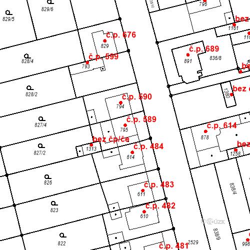 Katastrální mapa Stavební objekt Tlumačov 589, Tlumačov