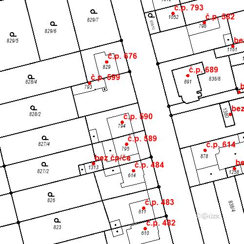 Katastrální mapa Stavební objekt Tlumačov 590, Tlumačov