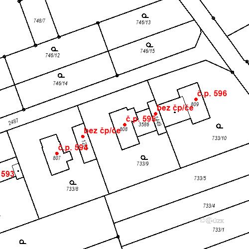 Katastrální mapa Stavební objekt Tlumačov 595, Tlumačov