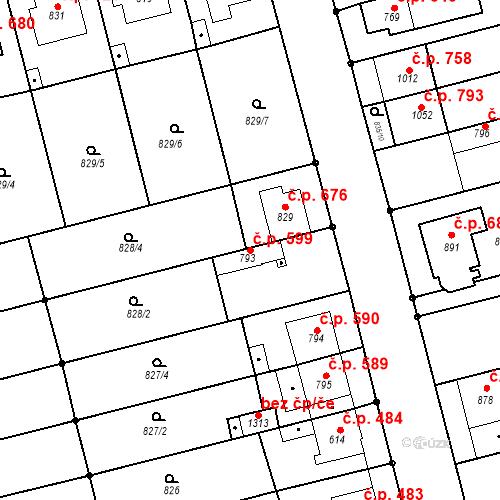 Katastrální mapa Stavební objekt Tlumačov 599, Tlumačov