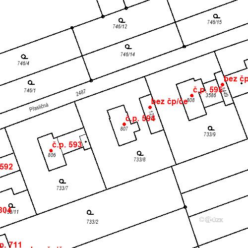 Katastrální mapa Stavební objekt Tlumačov 594, Tlumačov