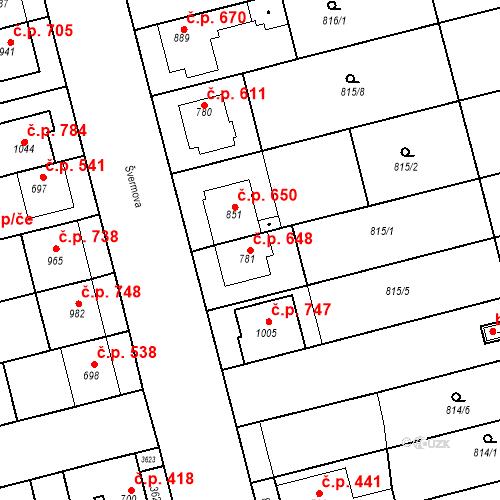 Katastrální mapa Stavební objekt Tlumačov 648, Tlumačov