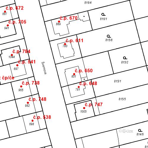 Katastrální mapa Stavební objekt Tlumačov 650, Tlumačov