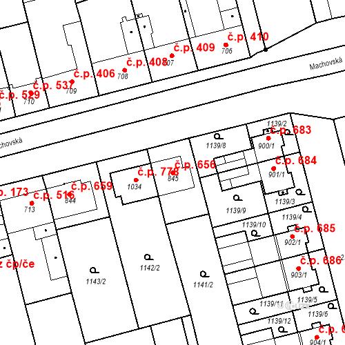 Katastrální mapa Stavební objekt Tlumačov 656, Tlumačov