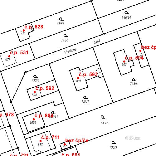 Katastrální mapa Stavební objekt Tlumačov 593, Tlumačov