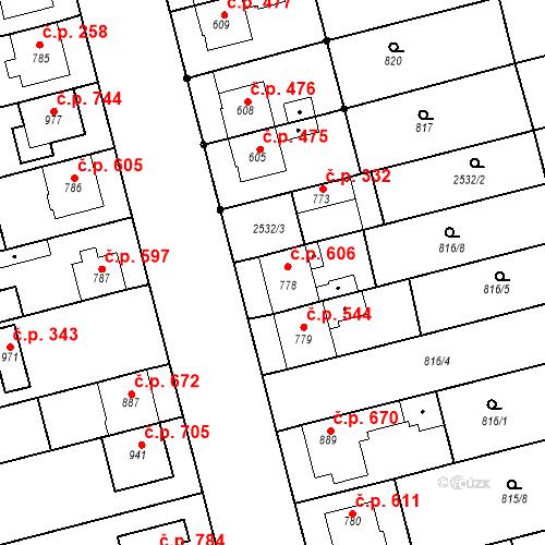 Katastrální mapa Stavební objekt Tlumačov 606, Tlumačov