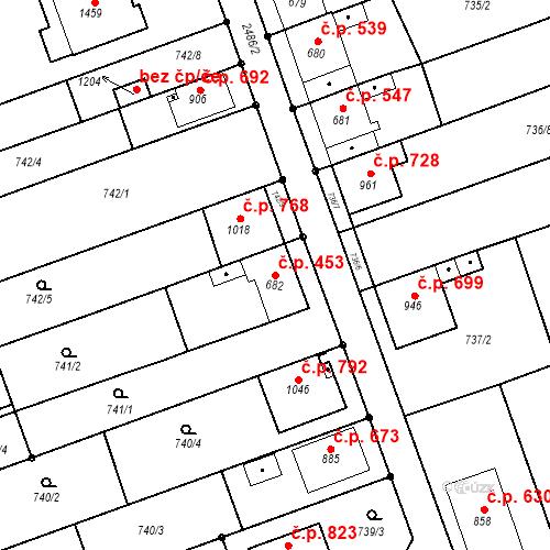 Katastrální mapa Stavební objekt Tlumačov 453, Tlumačov