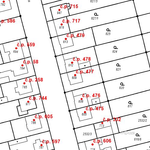 Katastrální mapa Stavební objekt Tlumačov 477, Tlumačov