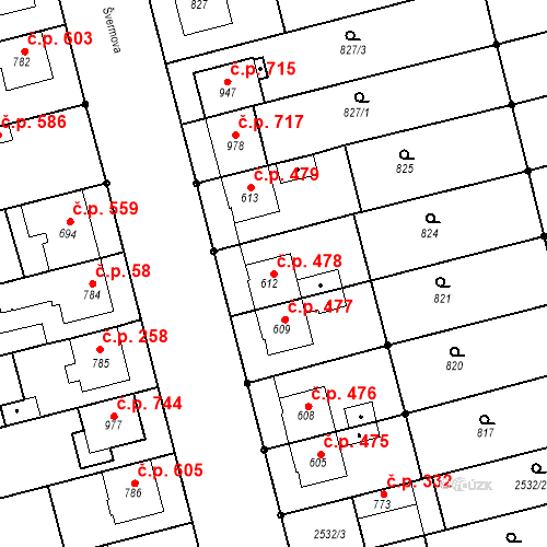 Katastrální mapa Stavební objekt Tlumačov 478, Tlumačov