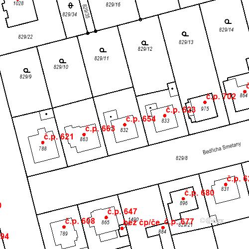 Katastrální mapa Stavební objekt Tlumačov 654, Tlumačov