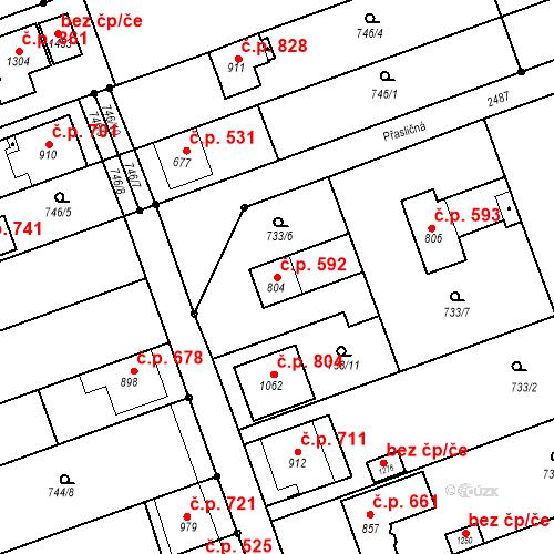 Katastrální mapa Stavební objekt Tlumačov 592, Tlumačov