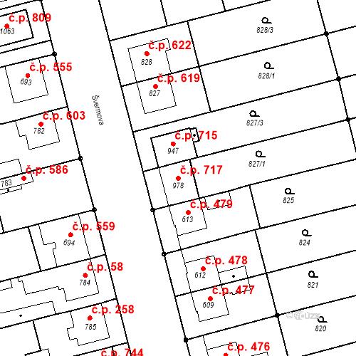Katastrální mapa Stavební objekt Tlumačov 717, Tlumačov