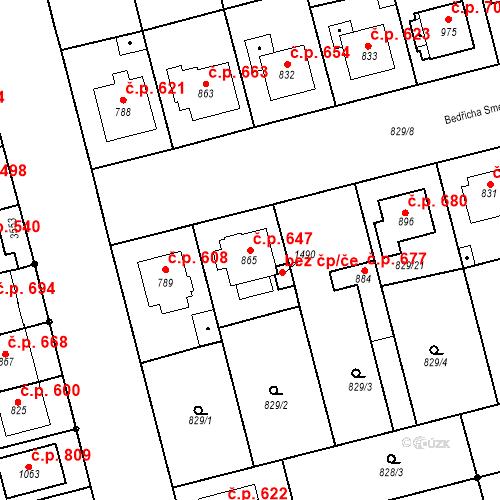 Katastrální mapa Stavební objekt Tlumačov 647, Tlumačov