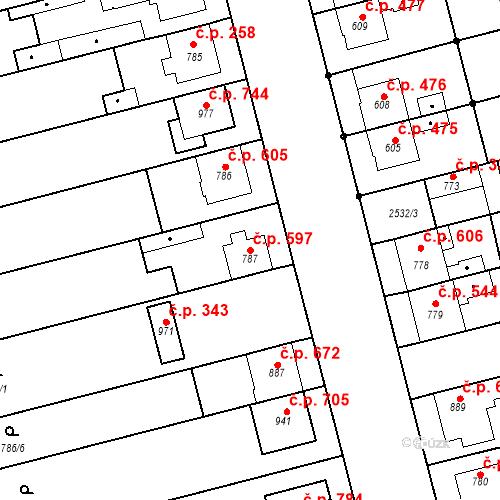 Katastrální mapa Stavební objekt Tlumačov 597, Tlumačov