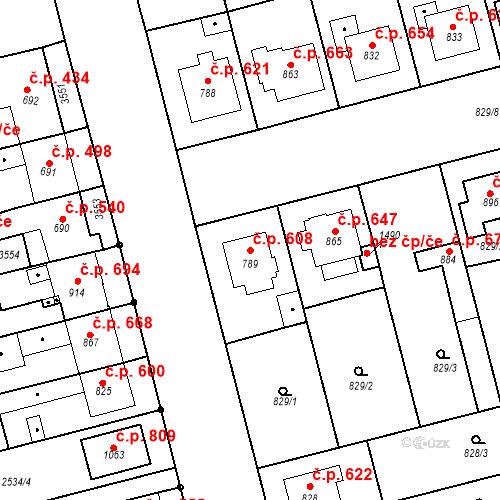 Katastrální mapa Stavební objekt Tlumačov 608, Tlumačov