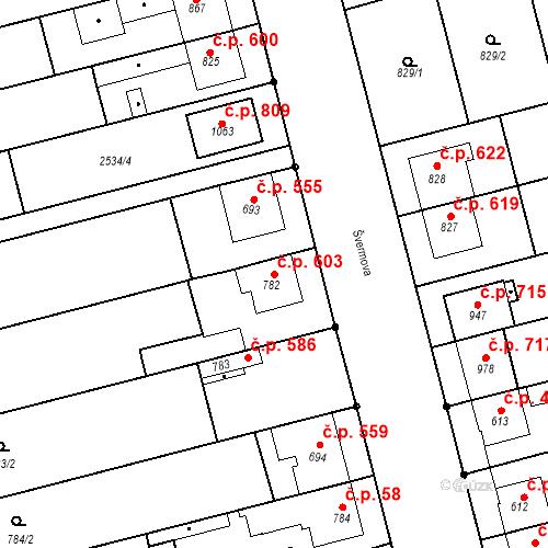 Katastrální mapa Stavební objekt Tlumačov 603, Tlumačov