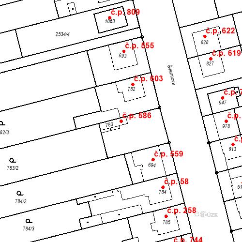 Katastrální mapa Stavební objekt Tlumačov 586, Tlumačov