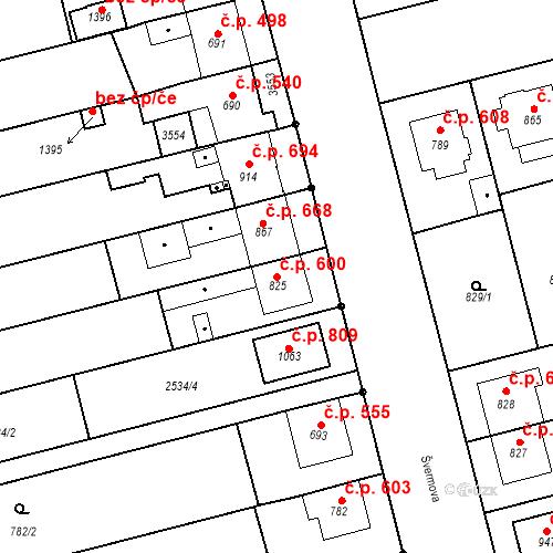 Katastrální mapa Stavební objekt Tlumačov 600, Tlumačov