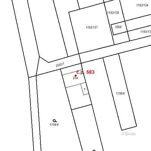 Katastrální mapa Stavební objekt Tlumačov 583, Tlumačov