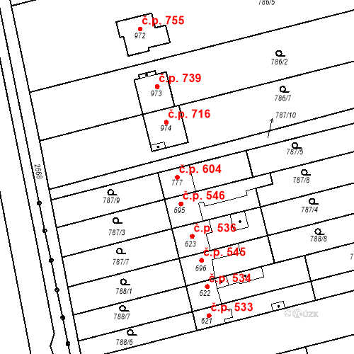 Katastrální mapa Stavební objekt Tlumačov 604, Tlumačov