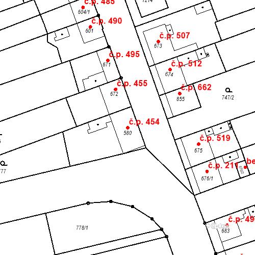 Katastrální mapa Stavební objekt Tlumačov 454, Tlumačov
