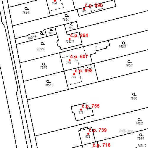 Katastrální mapa Stavební objekt Tlumačov 598, Tlumačov