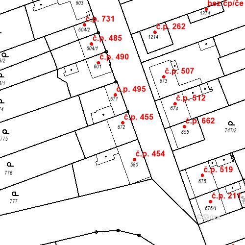 Katastrální mapa Stavební objekt Tlumačov 455, Tlumačov