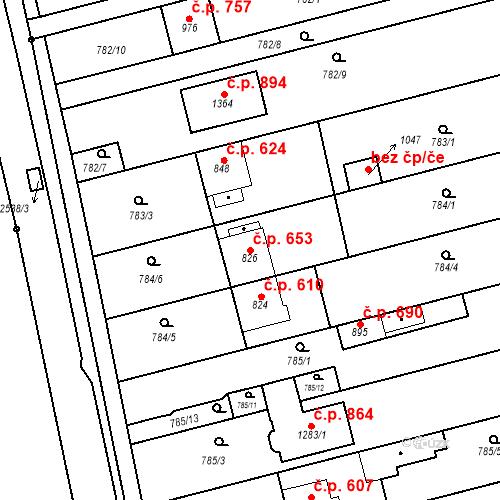 Katastrální mapa Stavební objekt Tlumačov 653, Tlumačov