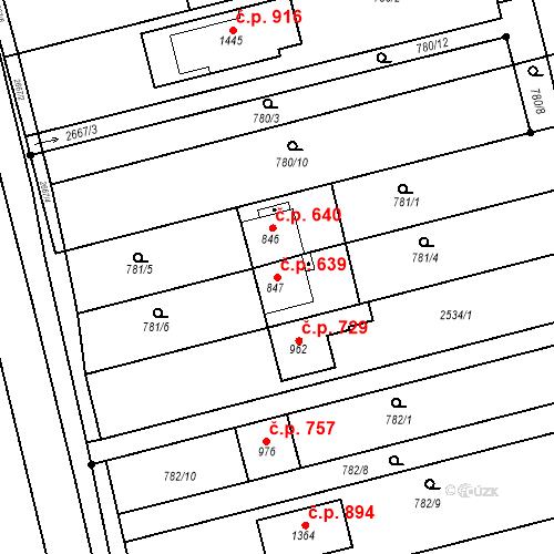 Katastrální mapa Stavební objekt Tlumačov 639, Tlumačov
