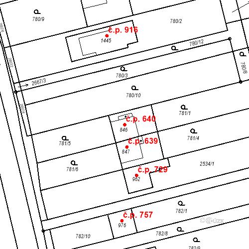 Katastrální mapa Stavební objekt Tlumačov 640, Tlumačov