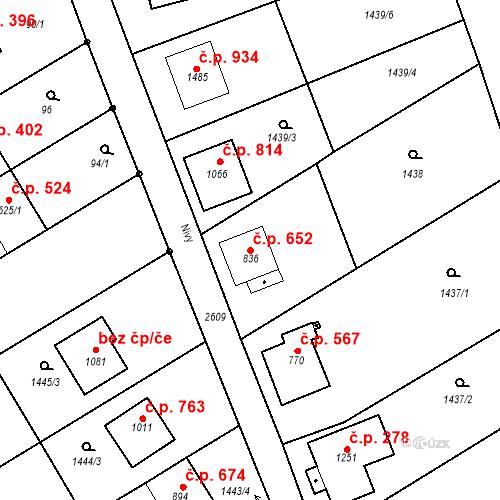 Katastrální mapa Stavební objekt Tlumačov 652, Tlumačov
