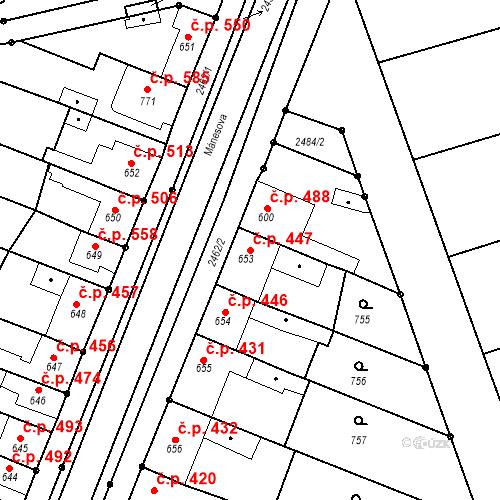 Katastrální mapa Stavební objekt Tlumačov 447, Tlumačov