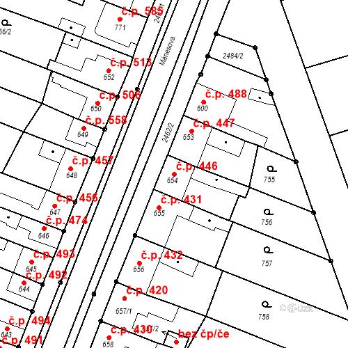 Katastrální mapa Stavební objekt Tlumačov 446, Tlumačov